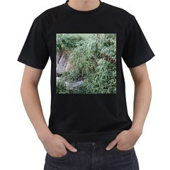 Rustic Grass Pattern Men s Two Sided T Shirt (black)