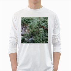 Rustic Grass Pattern Men s Long Sleeve T-shirt (White)