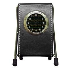 Modern Lace Stripe Pattern Stationery Holder Clock