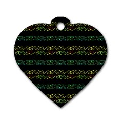 Modern Lace Stripe Pattern Dog Tag Heart (two Sided)