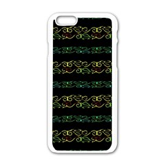 Modern Lace Stripe Pattern Apple iPhone 6 White Enamel Case