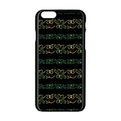 Modern Lace Stripe Pattern Apple iPhone 6 Black Enamel Case