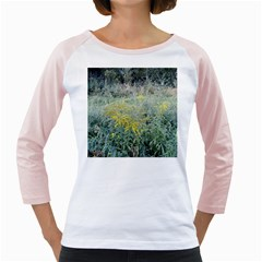 Yellow Flowers, Green Grass Nature Pattern Women s Long Cap Sleeve T-Shirt (White)