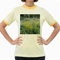 Yellow Flowers, Green Grass Nature Pattern Women s Ringer T-shirt (Colored)