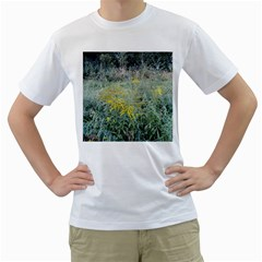 Yellow Flowers, Green Grass Nature Pattern Men s Two Sided T Shirt (white)