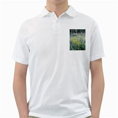 Yellow Flowers, Green Grass Nature Pattern Men s Polo Shirt (White)