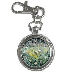 Yellow Flowers, Green Grass Nature Pattern Key Chain Watch