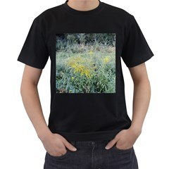 Yellow Flowers, Green Grass Nature Pattern Men s Two Sided T-shirt (Black)