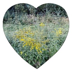Yellow Flowers, Green Grass Nature Pattern Jigsaw Puzzle (heart)