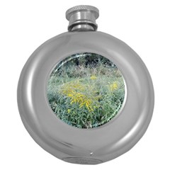 Yellow Flowers, Green Grass Nature Pattern Hip Flask (round)