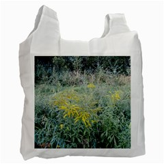 Yellow Flowers, Green Grass Nature Pattern White Reusable Bag (two Sides)