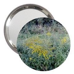 Yellow Flowers, Green Grass Nature Pattern 3  Handbag Mirror