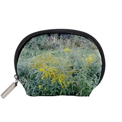 Yellow Flowers, Green Grass Nature Pattern Accessory Pouch (Small)