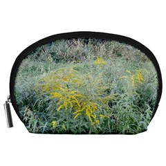 Yellow Flowers, Green Grass Nature Pattern Accessory Pouch (Large)