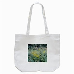 Yellow Flowers, Green Grass Nature Pattern Tote Bag (White)