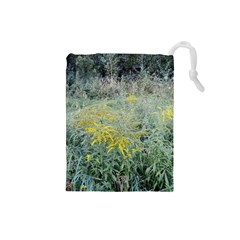 Yellow Flowers, Green Grass Nature Pattern Drawstring Pouch (Small)