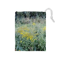 Yellow Flowers, Green Grass Nature Pattern Drawstring Pouch (Medium)