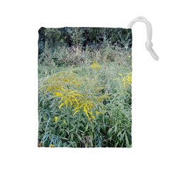Yellow Flowers, Green Grass Nature Pattern Drawstring Pouch (Large)