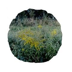 Yellow Flowers, Green Grass Nature Pattern Standard 15  Premium Flano Round Cushion