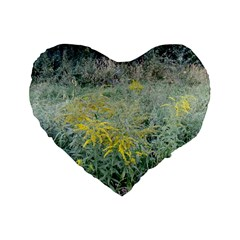 Yellow Flowers, Green Grass Nature Pattern Standard 16  Premium Flano Heart Shape Cushion