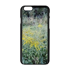 Yellow Flowers, Green Grass Nature Pattern Apple iPhone 6 Black Enamel Case