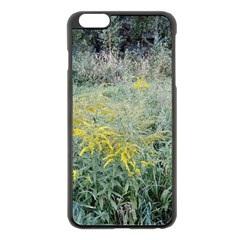 Yellow Flowers, Green Grass Nature Pattern Apple Iphone 6 Plus Black Enamel Case