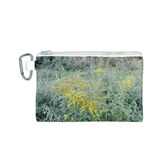Yellow Flowers, Green Grass Nature Pattern Canvas Cosmetic Bag (Small)
