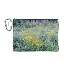 Yellow Flowers, Green Grass Nature Pattern Canvas Cosmetic Bag (Medium)