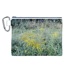 Yellow Flowers, Green Grass Nature Pattern Canvas Cosmetic Bag (large)