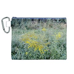 Yellow Flowers, Green Grass Nature Pattern Canvas Cosmetic Bag (XL)