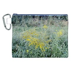 Yellow Flowers, Green Grass Nature Pattern Canvas Cosmetic Bag (XXL)