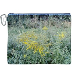 Yellow Flowers, Green Grass Nature Pattern Canvas Cosmetic Bag (XXXL)