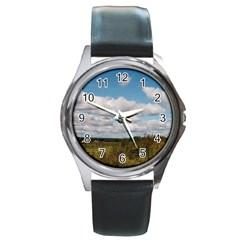 Rural Landscape Round Leather Watch (silver Rim)