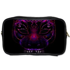 Creepy Cat Mask Portrait Print Travel Toiletry Bag (two Sides)