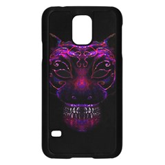 Creepy Cat Mask Portrait Print Samsung Galaxy S5 Case (Black)