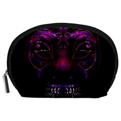 Creepy Cat Mask Portrait Print Accessory Pouch (Large)