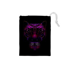 Creepy Cat Mask Portrait Print Drawstring Pouch (small)