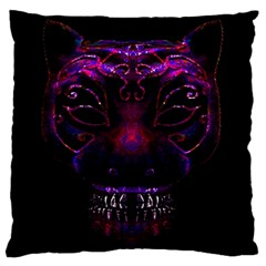 Creepy Cat Mask Portrait Print Large Flano Cushion Case (Two Sides)