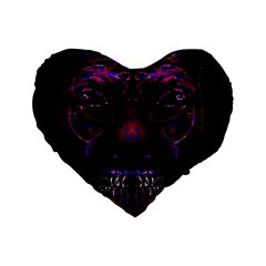 Creepy Cat Mask Portrait Print Standard 16  Premium Flano Heart Shape Cushion