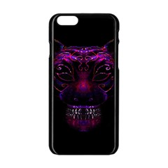 Creepy Cat Mask Portrait Print Apple iPhone 6 Black Enamel Case