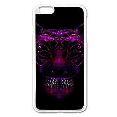 Creepy Cat Mask Portrait Print Apple iPhone 6 Plus Enamel White Case