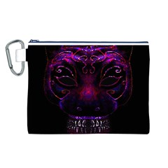 Creepy Cat Mask Portrait Print Canvas Cosmetic Bag (Large)