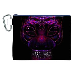 Creepy Cat Mask Portrait Print Canvas Cosmetic Bag (XXL)