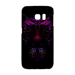 Creepy Cat Mask Portrait Print Samsung Galaxy S6 Edge Hardshell Case