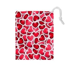 Candy Hearts Drawstring Pouch (large)