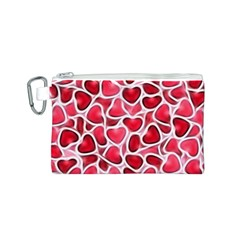 Candy Hearts Canvas Cosmetic Bag (Small)