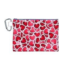 Candy Hearts Canvas Cosmetic Bag (Medium)