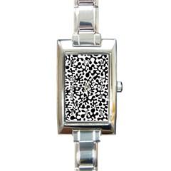 Black And White Blots Rectangular Italian Charm Watch