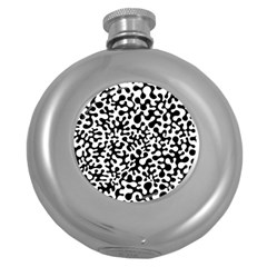 Black And White Blots Hip Flask (round)