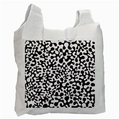 Black And White Blots White Reusable Bag (two Sides)